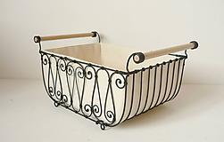 Košíky - Košík s drevenými rúčkami s poťahom - 10484796_