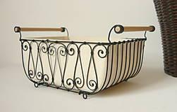 Košíky - Košík s drevenými rúčkami s poťahom - 10484797_