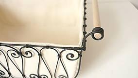 Košíky - Košík s drevenými rúčkami s poťahom - 10484803_