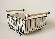 Košíky - Košík s drevenými rúčkami s poťahom - 10484813_