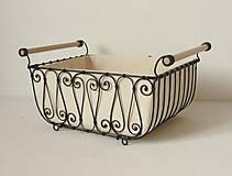 Košíky - Košík s drevenými rúčkami s poťahom - 10484814_