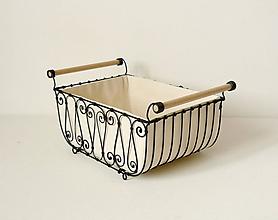 Košíky - Košík s drevenými rúčkami s poťahom - 10484806_