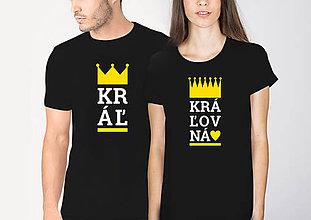 Tričká - Párové tričko Kráľ a Kráľovná- čierne - 10486388_