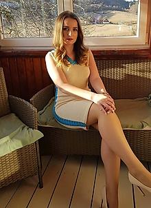 Šaty - Bavlnené šaty s krajkou - natur - 10484794_