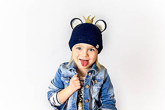 Detské čiapky - Tmavomodrá čiapočka s korunkou a uškami JAR/JESEŇ - 10484000_