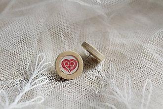 Náušnice - Trakovické srdce (Červená) - 10489249_