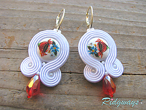 Náušnice - White/Button by Matty URBANIČ...soutache (teardrop) - 10489147_