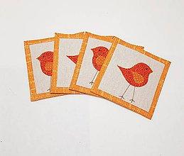 Úžitkový textil - Podšálky  s vtáčikom - 10489572_