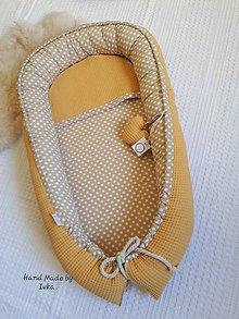 Textil - XL Hniezdo pre bábätko  - horčicová  VAFLE   + 100 % bavlna - 10488681_