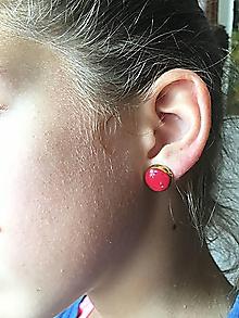 Náušnice - červené so zlatým okrajom - 10490026_