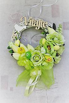 """Dekorácie - Jarný venček na dvere """"zelený"""" - 10489883_"""