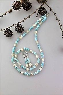 Sady šperkov - larimar,perly náhrdelník,náramok, náušnice - set SUPERAKCIA! - 10490141_