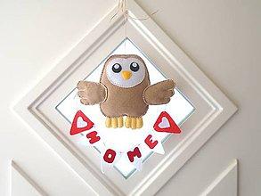 Dekorácie - Dekorácia na dvere (Sovička Home) - 10486752_