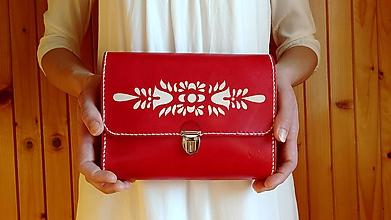 Kabelky - Kožená kabelka Tulipán červená - 10488662_