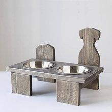 Pre zvieratká - Stolík na misky pre psíkov (hnedý) - 10488840_