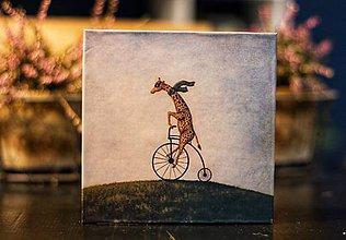 Papiernictvo - Leporelo 13x13 ,,Žirafka bicyklistka,, - 10488611_