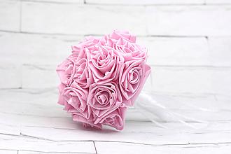 Kytice pre nevestu - Saténová kytica svadobná púdrová ružová ruže - 10488177_
