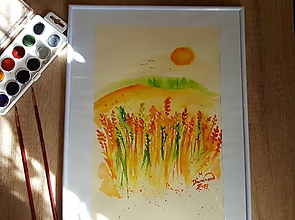 Obrazy - Zlaté klásky -akvarel - 10487397_