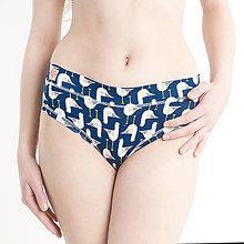 Bielizeň/Plavky - Nohavičky bez gumičky z bio bavlny GOTS - modré čajky - 10489175_