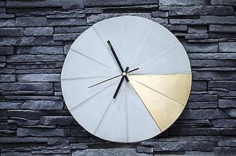 Hodiny - Betónové hodiny Tempus (Betón so zlatou farbou) - 10428151_