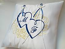 Úžitkový textil - Svadobný vankúšik na uloženie svadobných obrúčok - 10490112_