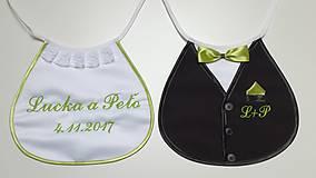 Iné doplnky - Svadobné podbradníky Sme svoji s výšivkou farba zelená - 10490185_