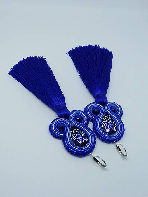 Náušničky s pavučinkovým modrým kabošonom