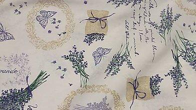 Textil - Levanduľa na bielom podklade š.140 - 10488494_