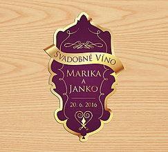 Darčeky pre svadobčanov - Svadobná etiketa na vínko - 10491265_