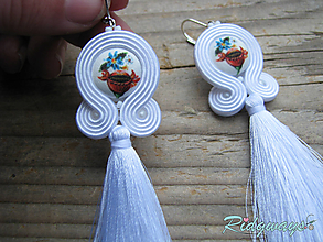 Náušnice - White/Button by Matty URBANIČ...soutache (tassels) - 10491688_