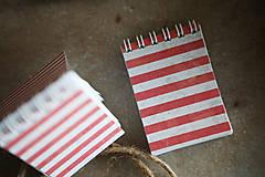 Papiernictvo - Mininotes - červené pásiky - 10492359_