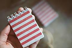 Papiernictvo - Mininotes - červené pásiky - 10492360_
