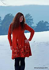 Šaty - Dámske šaty šité, batikované, maľované  TERRA-COTTA - 10492593_