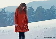 Šaty - Dámske šaty šité, batikované, maľované  TERRA-COTTA - 10492655_