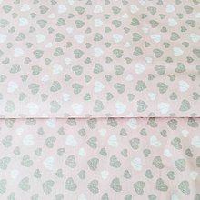 Textil - pastelové srdiečka, 100 % bavlna Nemecko, šírka 140 cm - 10490431_