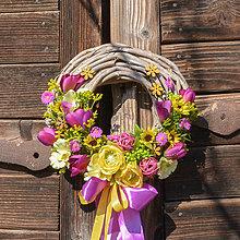 Dekorácie - Letný pestrý venček na dvere - 10492191_