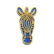 Odznaky/Brošne - SLEVA - Zebra nobble blue/gold - 10492126_
