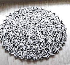 Úžitkový textil - Háčkovaný koberec- šedý - 10492114_