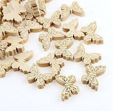 Korálky - KD159 Korálka Motýlik natur 2,4 x 1,8 cm - 10492315_