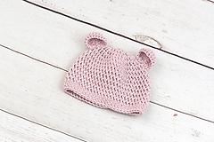 Detské čiapky - Bledoružová čiapka macko zimná EXTRA FINE - 10491560_