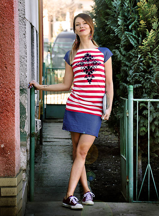 Šaty Folk Stripe   LucLac - SAShE.sk - Handmade Šaty c0a52109317