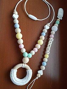 Detské doplnky - Set kojaci náhrdelník a šnúrka na cumlík - 10493067_