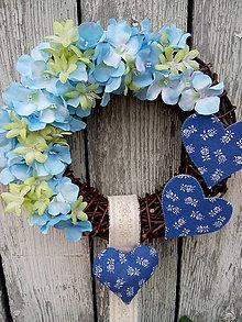 """Dekorácie - venček """"modrá hortenzia"""" - 10491482_"""