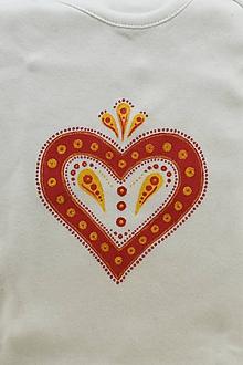 """Tričká - Detské body """"FOLKOTVARY"""" srdce - 10491981_"""