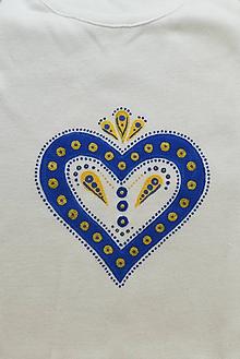 """Tričká - Detské body """"FOLKOTVARY"""" srdce (Modrá) - 10491983_"""