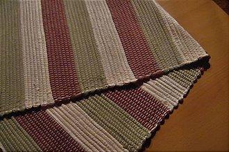 Úžitkový textil - Tkaný koberec maslovo-hnedo-zelený - 10490457_