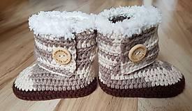 Topánočky - Hnedé melírové čižmy - 10495962_