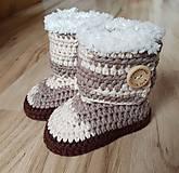 Topánočky - Hnedé melírové čižmy - 10495968_