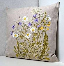 Úžitkový textil - Vankúš-ručne maľovaný-Keď lúka kvitne - 10494193_