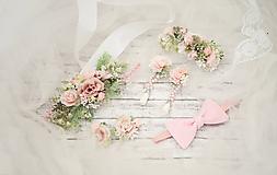 Opasky - Romantický ružový kvetinový set (opasok a náramok, klipy na topánky, náušnice, motýlik) - 10495928_